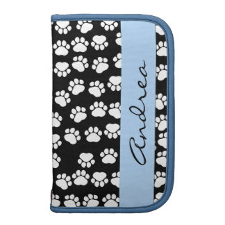 Your Name - Dog Paws, Trails - White Black Blue Folio Planners