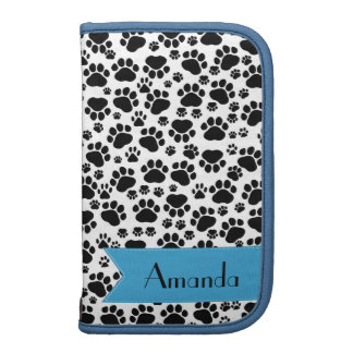 Your Name - Dog Paws, Trails - White Black Blue Folio Planner