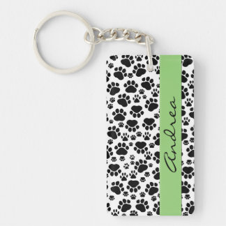 Your Name - Dog Paws, Trails - White Black Green Double-Sided Rectangular Acrylic Keychain