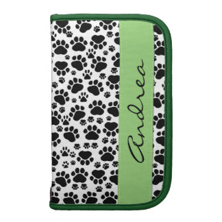 Your Name - Dog Paws, Trails - White Black Green Organizers