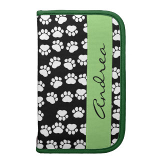 Your Name - Dog Paws, Trails - White Black Green Folio Planners