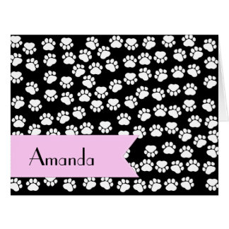 Your Name - Dog Paws Trails - White Black Pink Cards