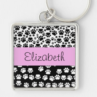 Your Name - Dog Paws, Trails - White Black Pink Key Chains