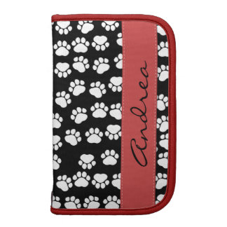 Your Name - Dog Paws, Trails - White Black Red Organizer