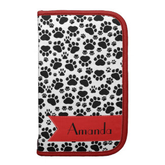 Your Name - Dog Paws, Trails - White Black Red Folio Planner