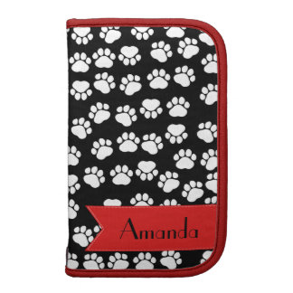 Your Name - Dog Paws, Trails - White Black Red Folio Planners