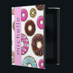 "Your Name - Donut Pattern, Colorful Donuts - Pink iPad Case<br><div class=""desc"">This image features pattern of donuts (donut pattern, donut background). Donuts (also called doughnuts) have glaze, icing and frosting in pink, blue, yellow and brown color. Some donuts are covered with chocolate, others are covered with colorful sprinkles. Background is white. You can customize (personalize) this product by adding your name...</div>"