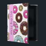 """Your Name - Donut Pattern, Colorful Donuts - Pink iPad Case<br><div class=""""desc"""">This image features pattern of donuts (donut pattern, donut background). Donuts (also called doughnuts) have glaze, icing and frosting in pink, blue, yellow and brown color. Some donuts are covered with chocolate, others are covered with colorful sprinkles. Background is white. You can customize (personalize) this product by adding your name...</div>"""