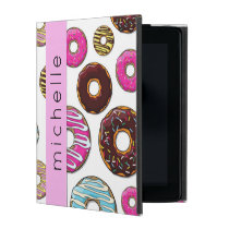 Your Name - Donut Pattern, Colorful Donuts - Pink iPad Case