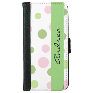 Your Name - Dots (Dotted Pattern) - Pink Green Wallet Phone Case For iPhone 6/6s
