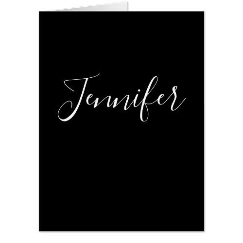 Your Name  Elegant White Script on Black Card