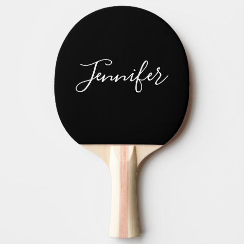Your Name  Elegant White Script on Black Ping Pong Paddle