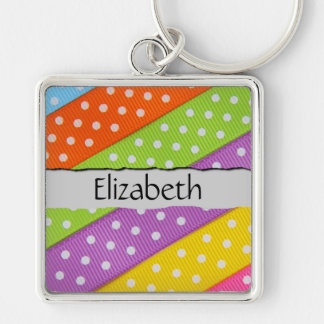 Your Name - Fabric Pieces, Polka Dots - Green Keychains