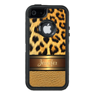 Your Name Faux Leopard Skin Gold Leather Pattern OtterBox Defender iPhone Case