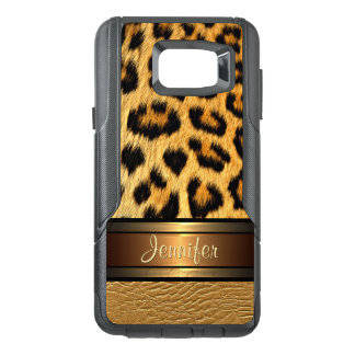 Your Name Faux Leopard Skin Gold Leather Pattern OtterBox Samsung Note 5 Case