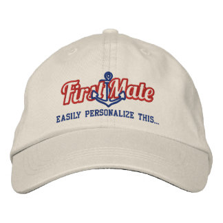 Your Name First Mate Nautical Anchor Embroidery Baseball Cap