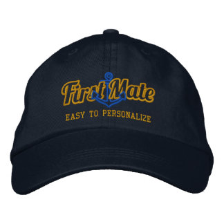 Your Name First Mate Nautical Anchor Embroidery Embroidered Baseball Hat
