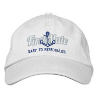 Your Name First Mate Nautical Anchor Embroidery Embroidered Baseball Cap