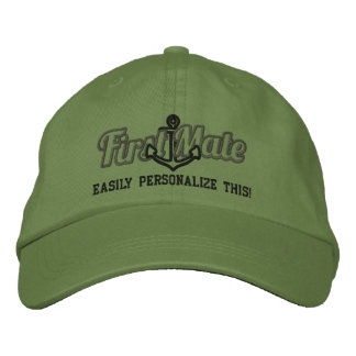 Your Name First Mate Nautical Anchor Embroidery Embroidered Hats