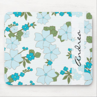 Your Name - Flowers, Leaves, Blossoms - Blue Green Mouse Pad