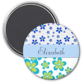 Your Name - Flowers, Petals, Blossoms - Green Blue 3 Inch Round Magnet