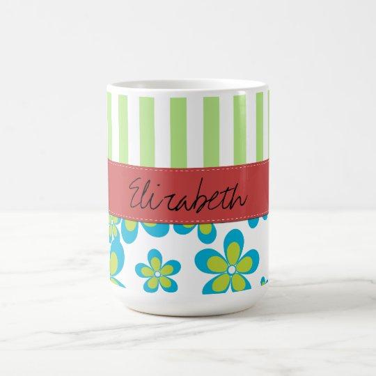 Your Name - Flowers, Petals, Blossoms - Green Blue Coffee Mug
