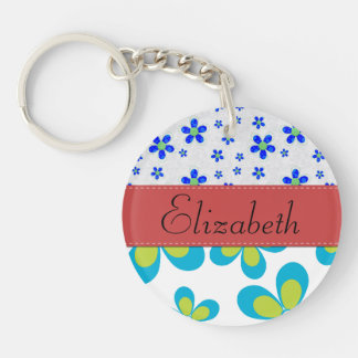Your Name - Flowers, Petals, Blossoms - Green Blue Keychain