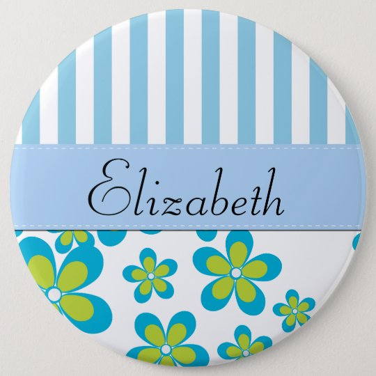 Your Name - Flowers, Petals, Blossoms - Green Blue Pinback Button