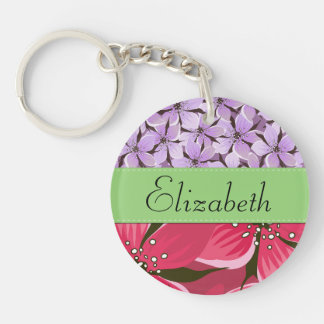 Your Name - Flowers, Petals - Pink Purple Green Double-Sided Round Acrylic Keychain