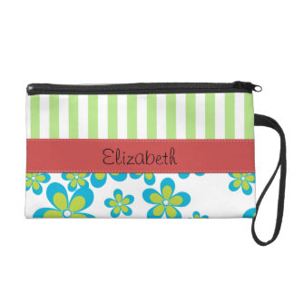Your Name - Flowers, Petals, Stripes - Green Blue Wristlet