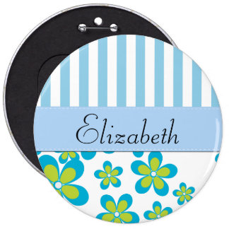 Your Name - Flowers, Petals, Stripes - Green Blue Pins