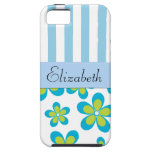 Your Name - Flowers, Petals, Stripes - Green Blue iPhone 5 Cover