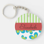 Your Name - Flowers, Petals, Stripes - Green Blue Acrylic Keychains