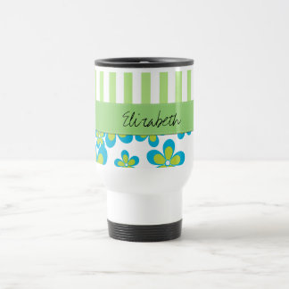 Your Name - Flowers, Petals, Stripes - Green Blue Mugs