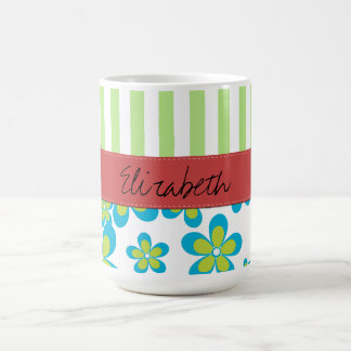 Your Name - Flowers Petals Stripes - Green Blue Coffee Mugs