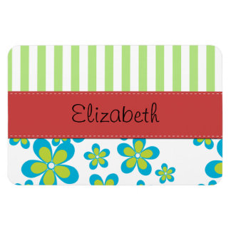 Your Name - Flowers, Petals, Stripes - Green Blue Rectangular Photo Magnet
