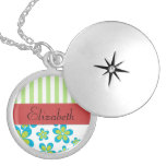 Your Name - Flowers, Petals, Stripes - Green Blue Round Locket Necklace