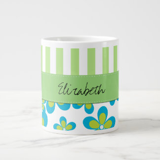 Your Name - Flowers Petals Stripes - Green Blue Extra Large Mugs