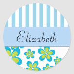Your Name - Flowers, Petals, Stripes - Green Blue Sticker