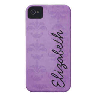 Your Name - French Damask Ornaments - Purple iPhone 4 Covers
