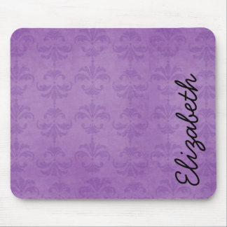 Your Name - French Damask, Ornaments - Purple Mouse Pad