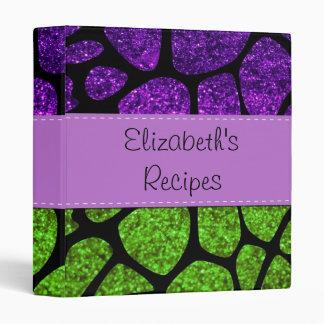 Your Name - Giraffe Print Glitter - Green Purple Binder