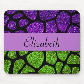 Your Name - Giraffe Print, Glitter - Green Purple Mouse Pad