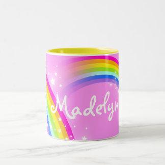 """""""Your name"""" girls rainbow light pink mug Two-Tone Mug"""