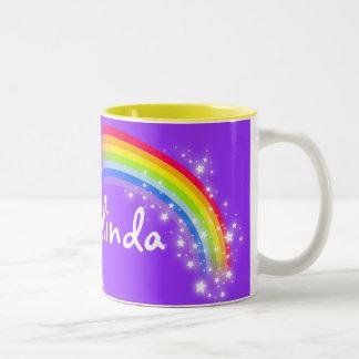 """Your name"" girls rainbow purple mug"
