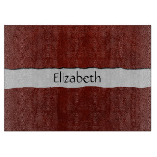 Your Name - Glossy Red Leather - Close up Texture Cutting Board
