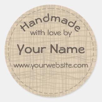 Your Name Handmade By Round Sticker Burlap Gauze