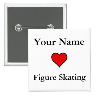 (Your Name) Hearts Figure Skating Pinback Button