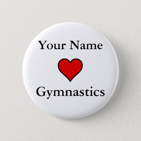 (Your Name) Hearts Gymnastics Button