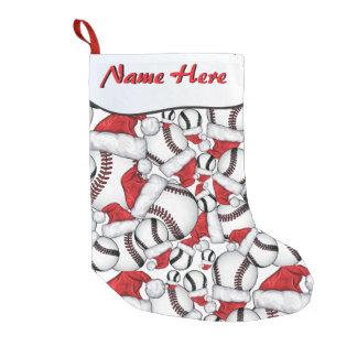 YOUR NAME HERE - Baseballs and Santa Hats Small Christmas Stocking